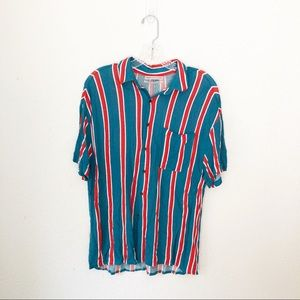 Urban Outfitters Vertical Striped Teal Button Up